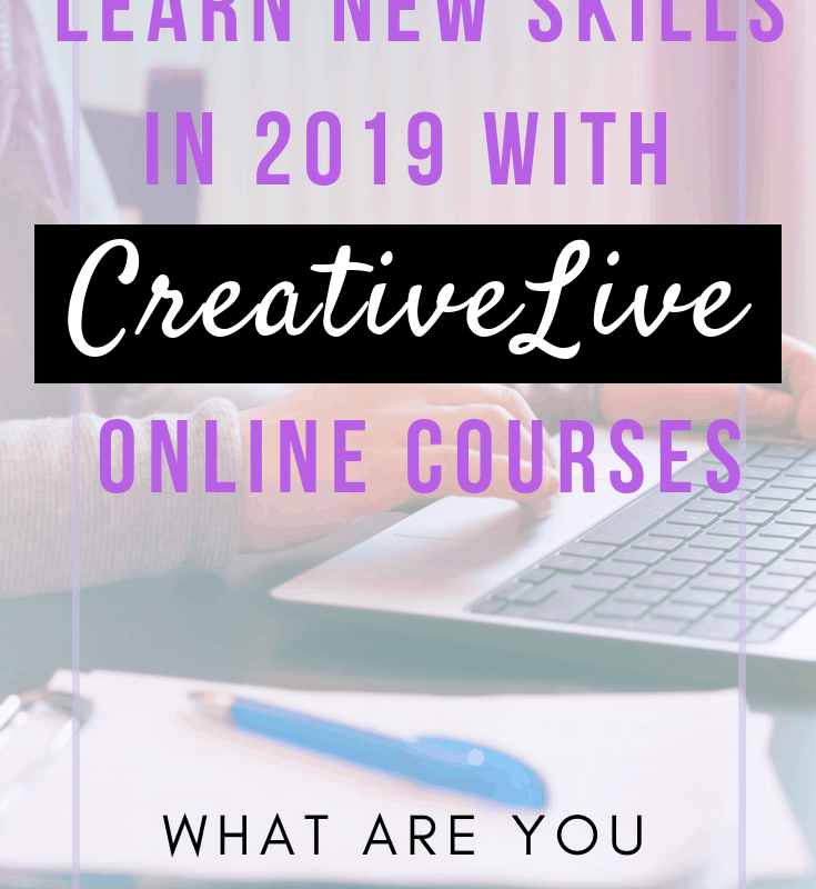 """A pinnable image with text, """"Learn new skills in 2020 with CreativeLive Online Courses"""""""