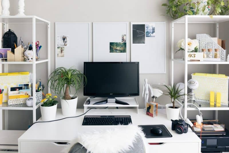 A computer screen on a desk next to shelves containing plants and other objects