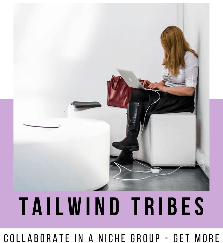 "A pinnable image: ""Get repins with Tailwind Tribes - Collaborate in a niche group - Get more shares - Relevant Pinterest content"""