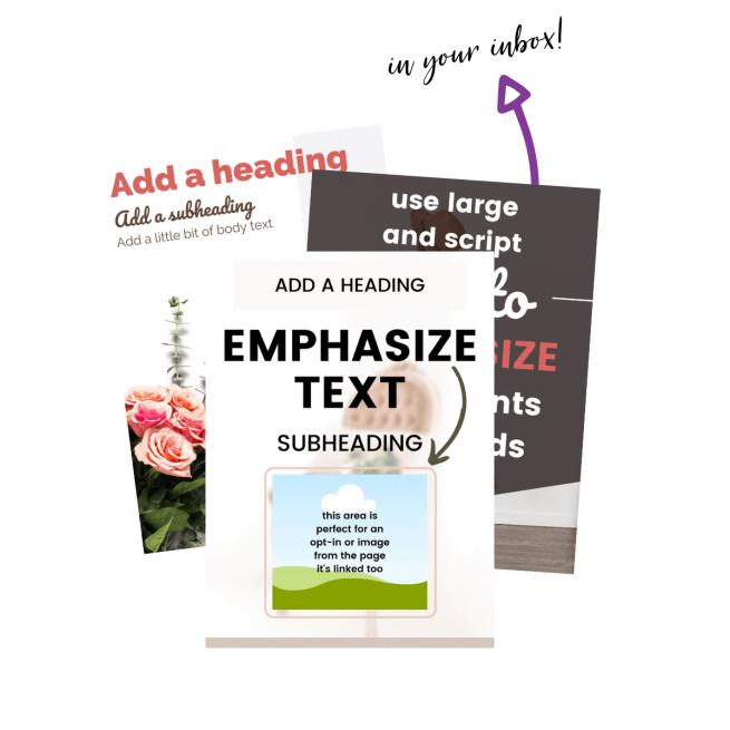 Screenshots of Pinterest pin templates