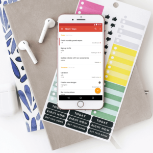 A photograph of a mobile phone with ToDoist open on the screen
